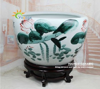 Large chinese hand painted lotus ceramic fish planter indoor ...