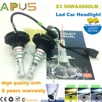 X3 ZES LED chip CE ROHS 50W 6000lm high power h7 car led light headlight