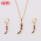 Jewelry Colorful Crescent Shape Wholesale Price Dubai 18K Gold Plated Jewelry Set