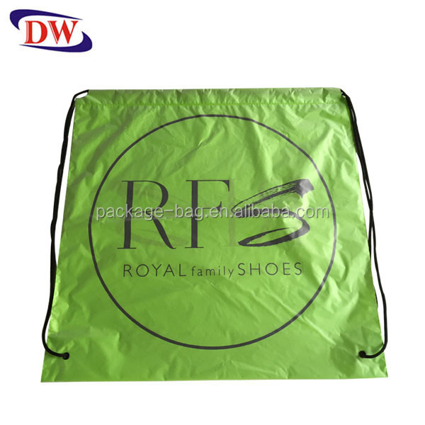 waterproof convenient apple green drawstring backpack duffle plastic bag