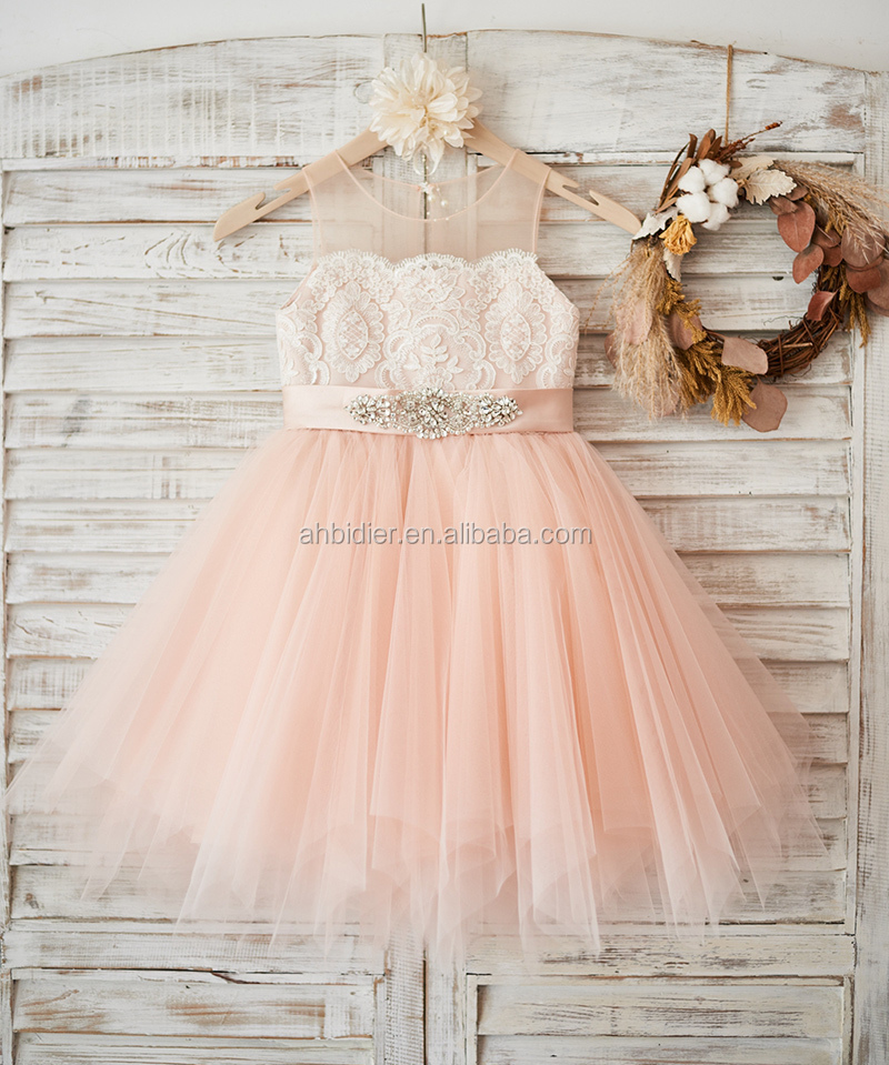 Sheer Neck Pesca Rosa di Tulle Avorio Da Sposa In Pizzo Flower Girl Dress con in rilievo sash