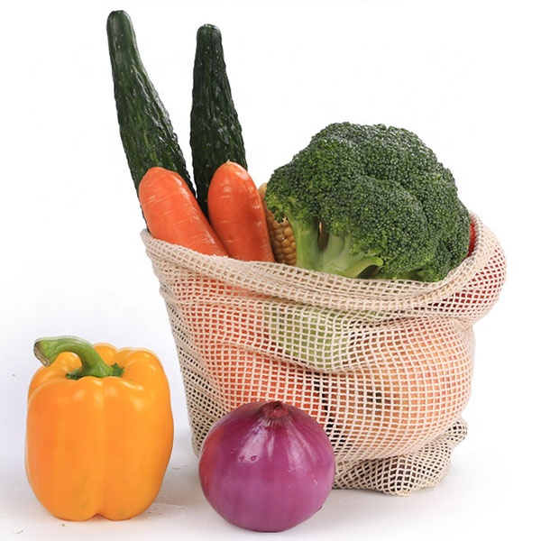JUNYUAN <strong>Eco</strong> Friendly And Reusable Cotton Mesh Drawstring Bag, Vegetable/Fruit Shopping Bag