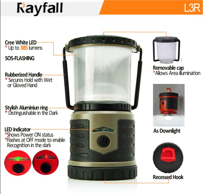 Rayfall Led Button Compact Waterproof Battery Camping Lantern light With Hook