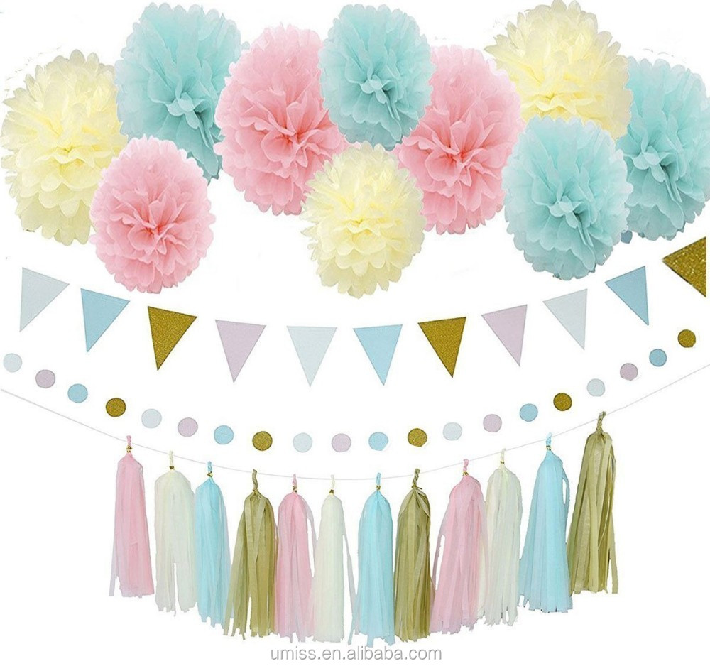 Birthday party backdrop tissue paper pom poms product on alibaba com - Blue Pink Cream Gold Tissue Paper Pompom Gender Reveal Party Decoration Kit With Triangle Banner Paper