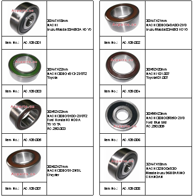 30BG04SA8G-2DS 83A693 Manufacture Auto Air Conditioning Compressor Cluth Bearing Car AC Compressor Bearing