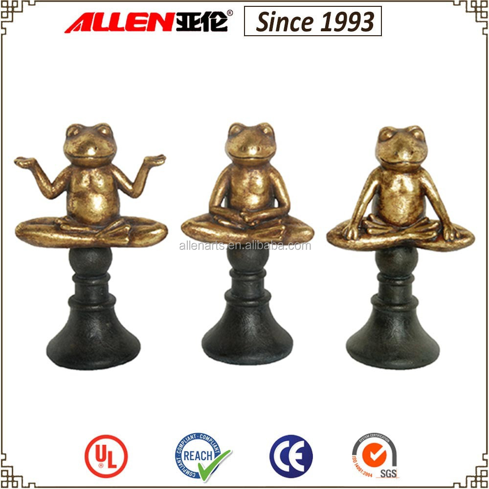 "11.3"" 3/set frog statues with stand , brass finish resin zen frog statues"
