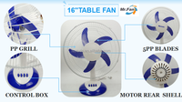 YAXIN 16inch TABLE FAN SR-T1633 / Quiet tablr fan with 3 speed control/ Full 90 degree oscillation