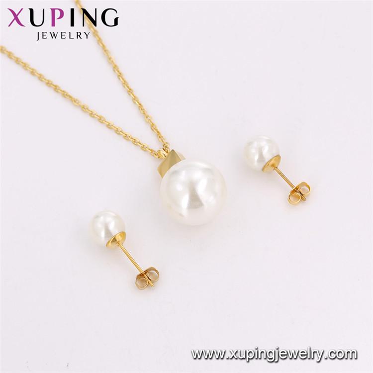 S-90 Haute qualité en acier inoxydable plaqué or perle collier + boucle d'oreille ensembles de bijoux