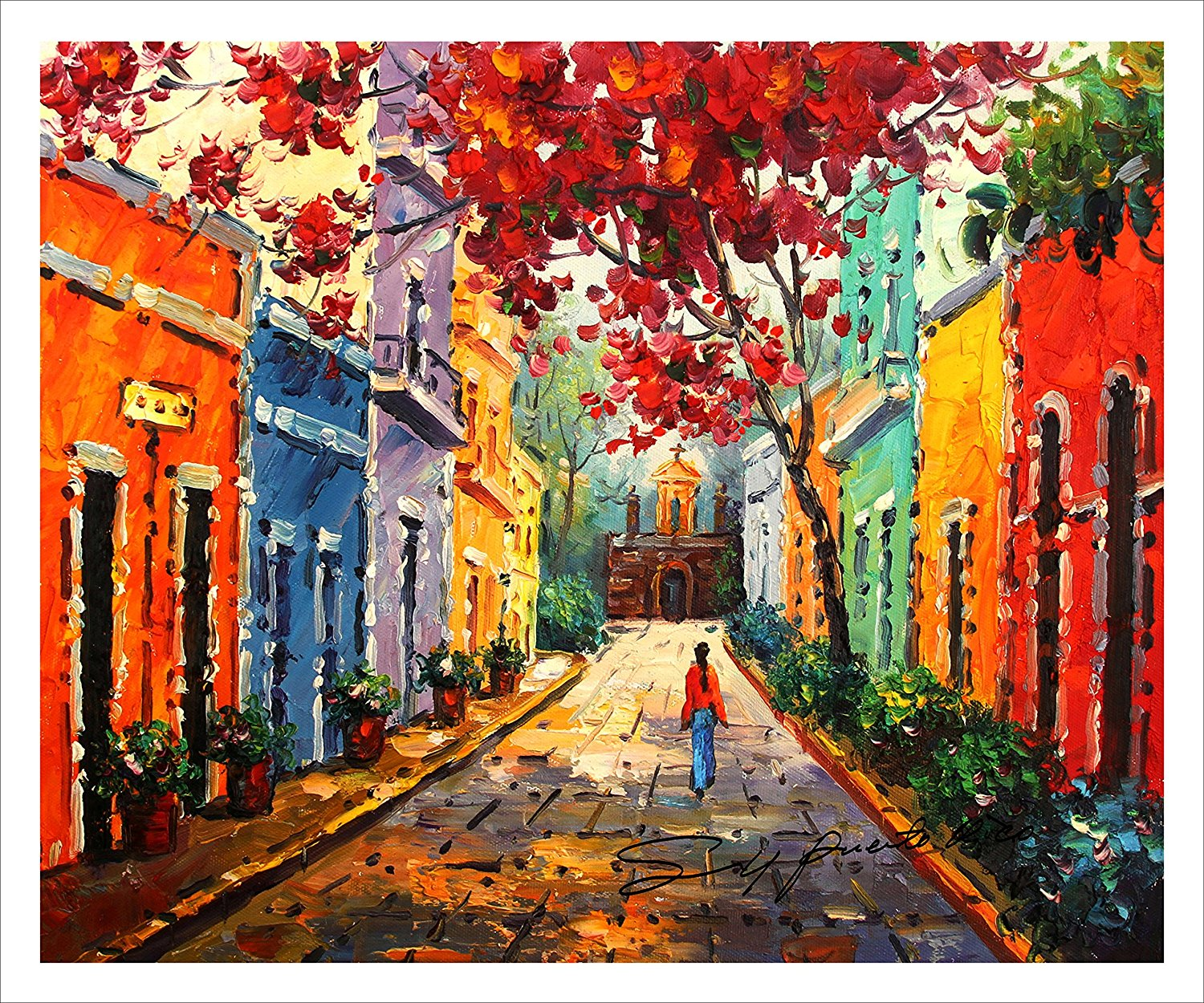 "20""x24"". Canvas Print, of Oil Painting,puerto Rico,Old San Juan,Original print, signed by painter."