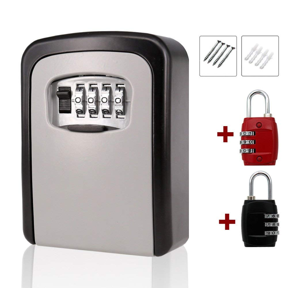 MIONI Key Storage Lock Box Wall Mounted Key Holder with 4-Digit Combination Security Storage Organizer +2ps Luggage Lock(1+2ps,Black/red)