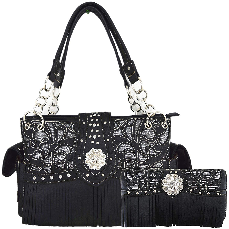 Get Quotations · Western Style Fringe Laser Cut Purse Concealed Carry Handbags  Women Totes Country Shoulder Bag Wallet Set 281dcdda2c357