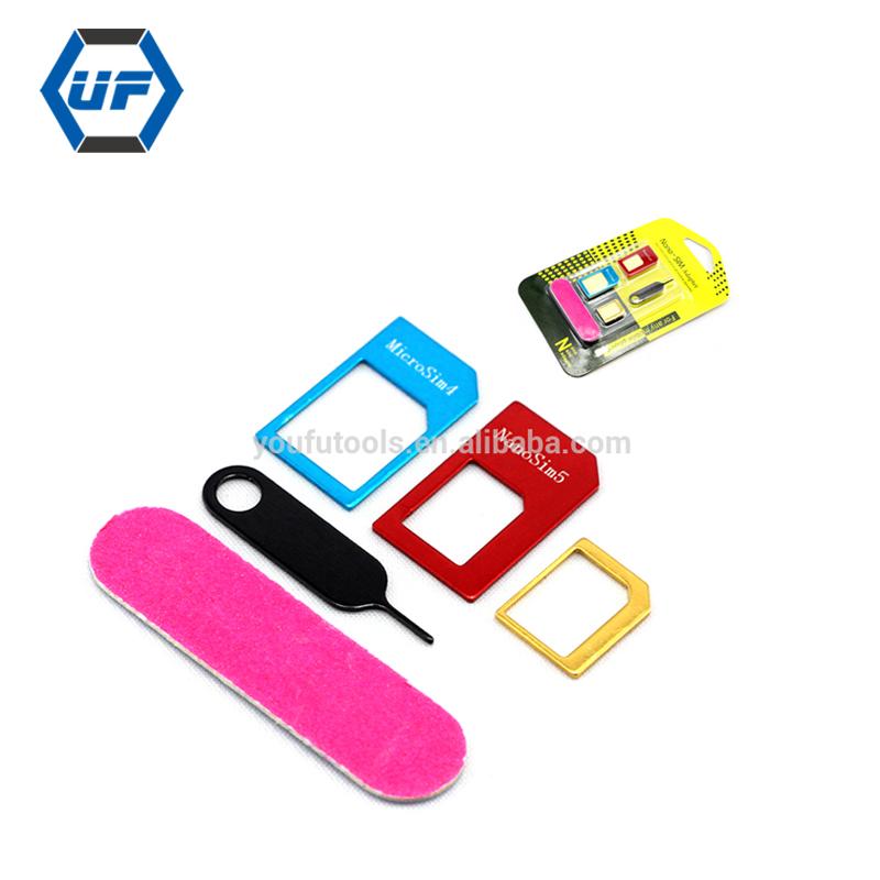 669baa3c57f Alta calidad 5 en 1 Tarjeta Sim Nano adaptadores de tarjeta estándar de Sim  y herramientas