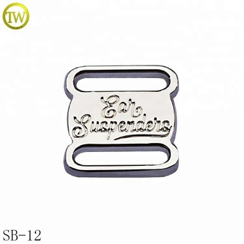Custom logo engraved silver metal decorative charm shoes lace buckle