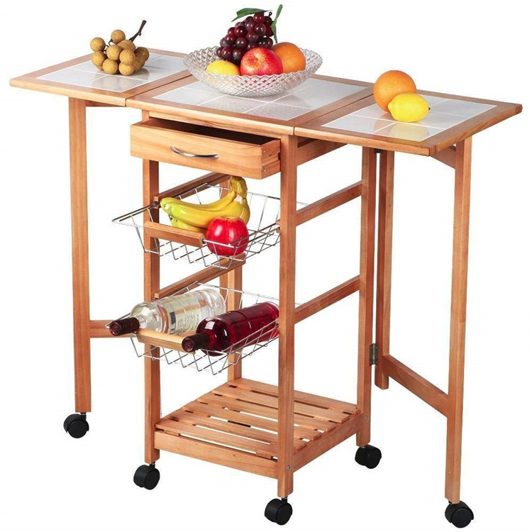 3 Tier extendable kitchen trolley baskets design with drawer 3