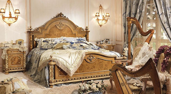 European Style Inlay Hand Carved Wooden Bedroom Set/Royal Antique King Size  Wooden Bed (