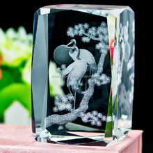 Wholesale Crane Birds Animals Gifts Etched 3d Crystal Laser