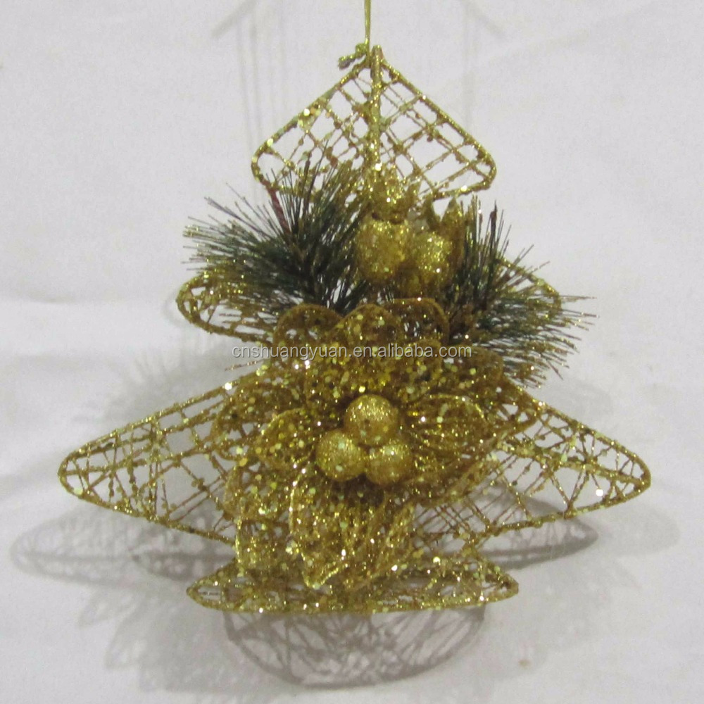 christmas decorative iron hanging tree with flower ornament