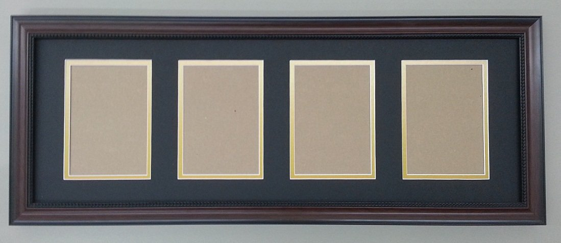 Buy Black Amp Gold 4 Opening Double Picture Mat With Walnut Brown