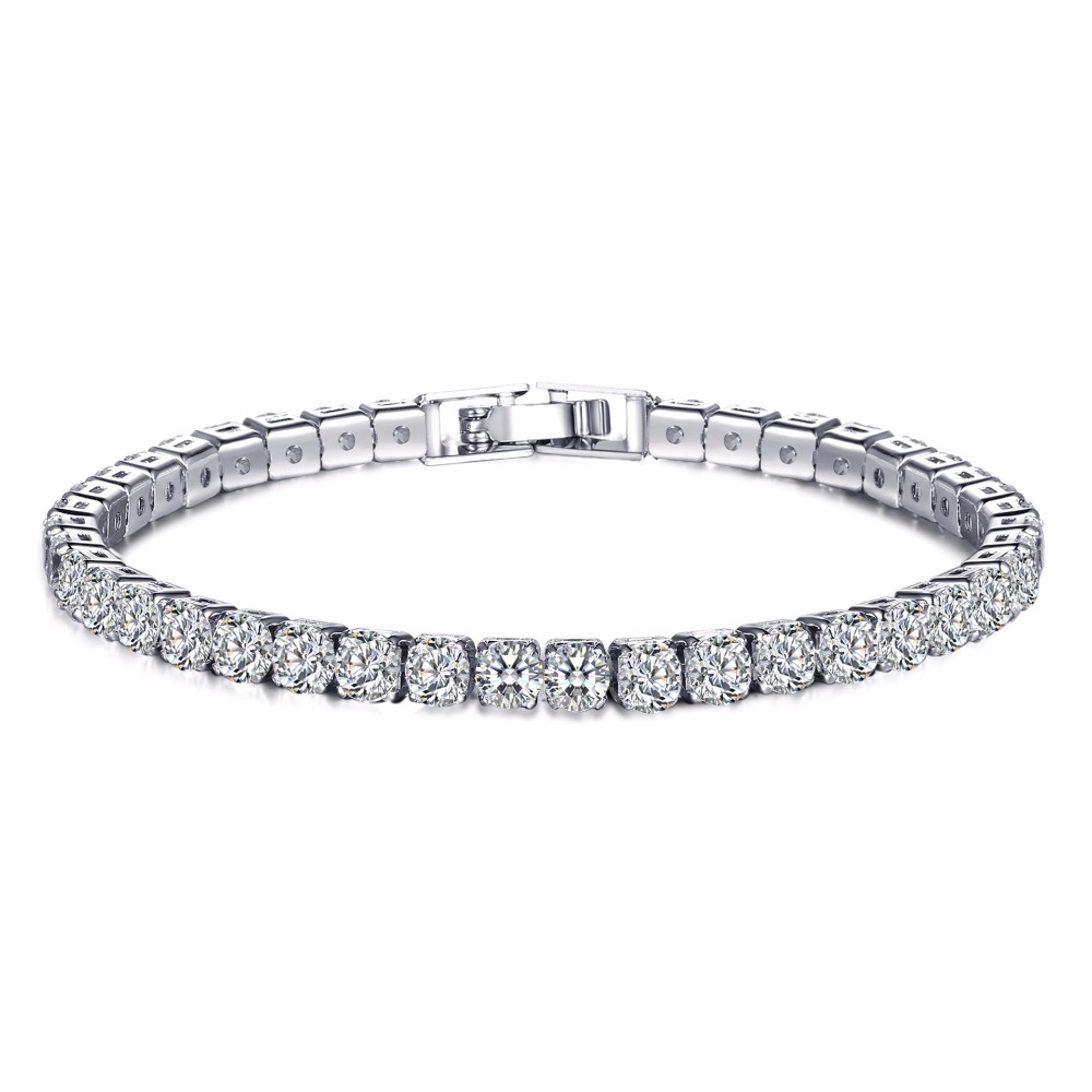 Classic Style 18k White Gold Plated <strong>Bracelet</strong> Luxury <strong>CZ</strong> Cubic Zircon Austrian Crystal <strong>CZ</strong> <strong>Tennis</strong> <strong>Bracelet</strong> for Woman
