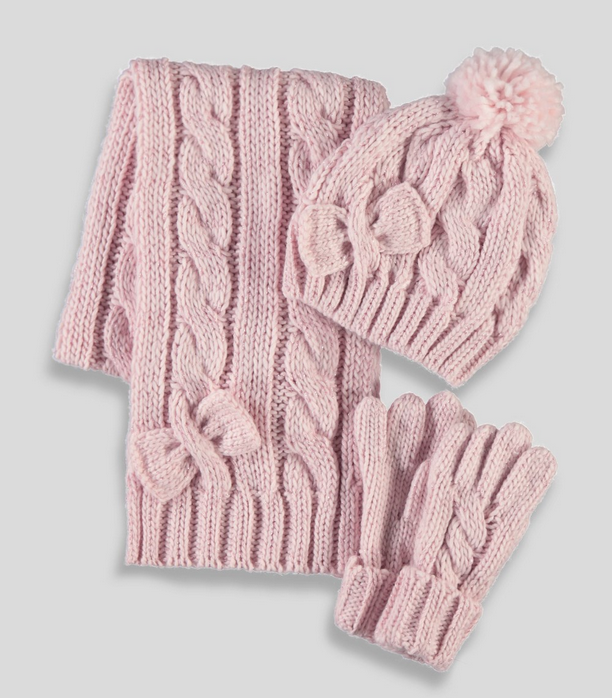 Girls Knitted Hat Scarf and Gloves Set