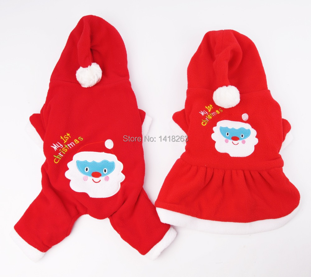 Get Quotations · 2016 Christmas Fashion Pet Dress Dog Hoodie Puppy Clothes  Vestidos Dog Clothes Santa Claus Sweethearts Outfit 3d6fe9674d87