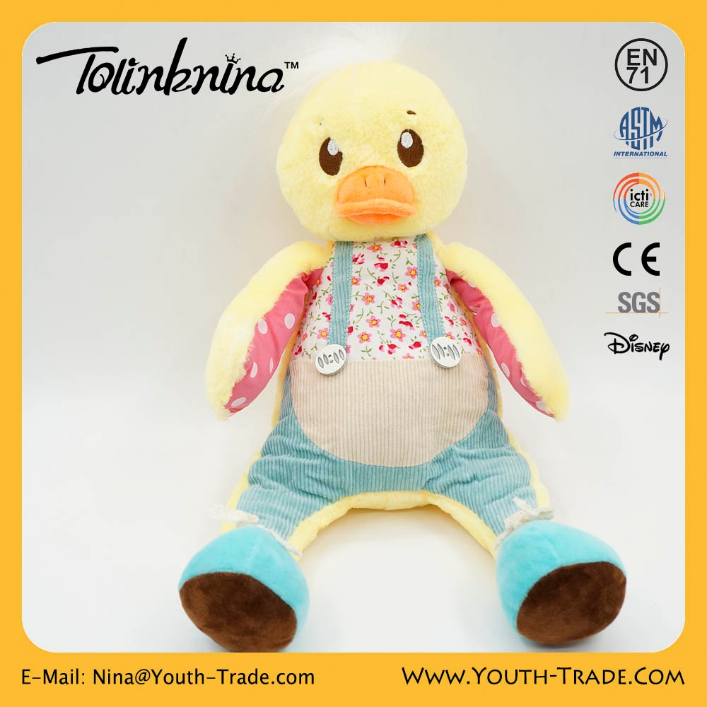 Custom design high quality baby Santa gifts long leg dressed duck toy for kids