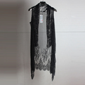 2016The men Summer male long design vest jacquard slim sleeveless cardigan cape trend cutout vest The