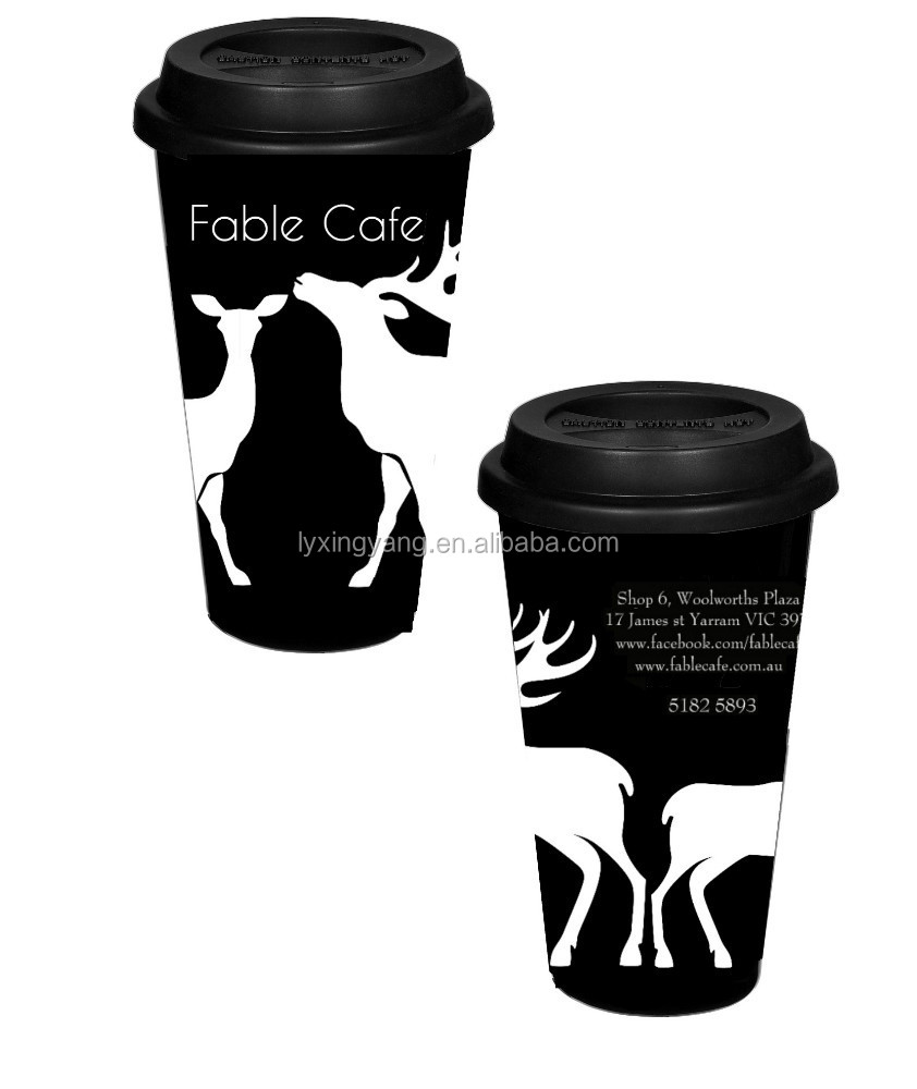 Take Away Travel Out Coffee Tea Mug Cup Ceramic Silicone Lid & Holder Hot Drink