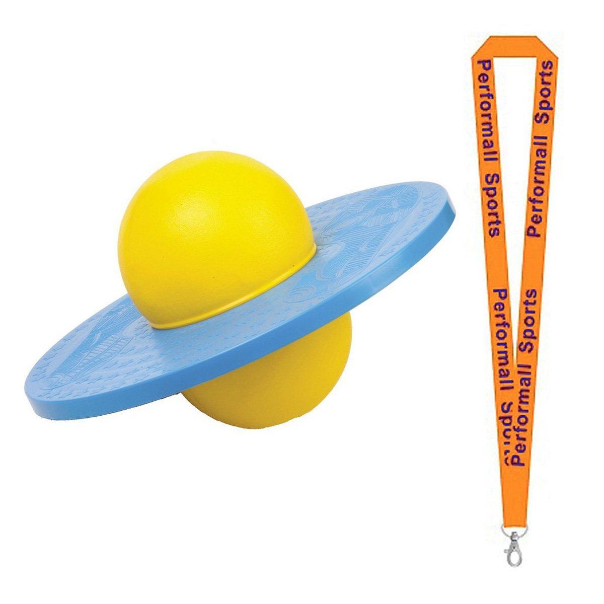 Champion Sports Bundle: Balance Platform Ball Blue / Yellow with 1 Performall Lanyard LBALL-1P