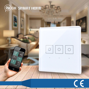 Z-wave smart home design CE passed glass panel touch screen soft touch light switch with phone,tv,pad remote control