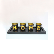 2018 Table Decoration 4 PCS Tealight Candle Holder with Earth Stone