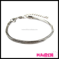 Wholesale titanium surgical level 316 stainless steel jewelry plain snake chain bracelet with lobster clasp