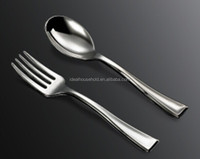Mini Siver Coated Plastic Forks And Spoons,Disposable Plastic Metallic Cutlery