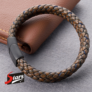 Brown Vintage Men Jewelry Punk Braided Genuine Leather Bracelet Stainless Steel Magnetic Buckle Bangles