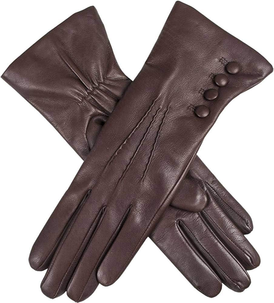 Dents Womens Evelyn Cashmere Lined Hairsheep Leather Gloves - Mocca/Natural