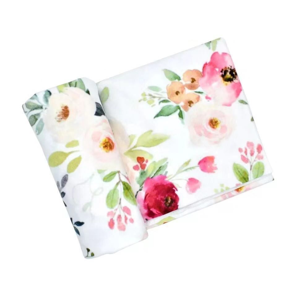 Brand New Newborn Infant Baby Girls Boys Floral Swaddle Blanket Soft Sleeping Swaddle Muslin Floral Wrap, As picture
