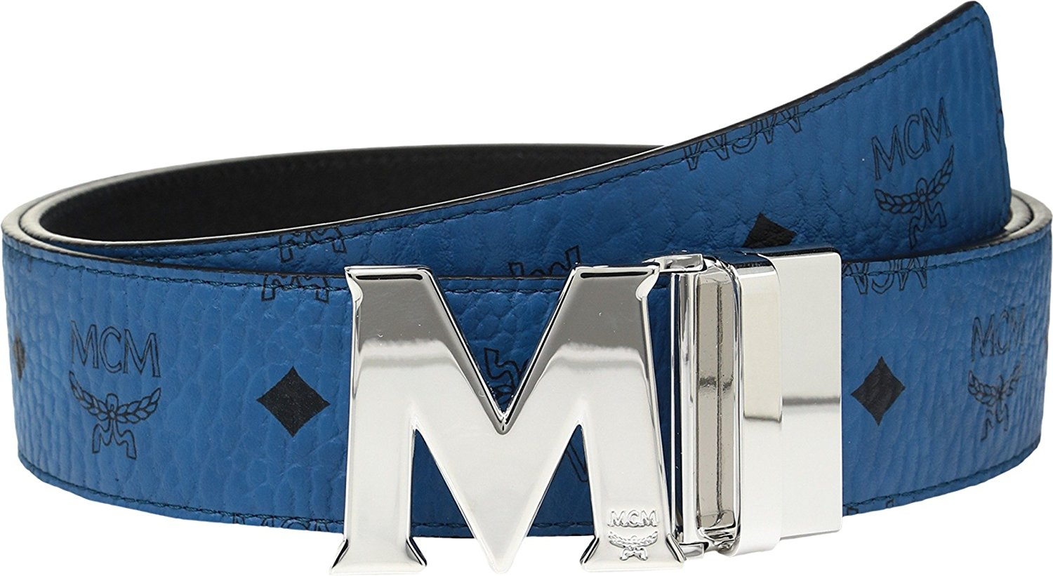 MCM Mens Claus Reversible Silver Buckle Belt