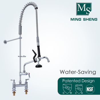 Deck Mount Double Hole Dual Lever Handles Pre Rinse Commercial Restaurant  Kitchen Faucet with Add on Nozzle MS 5804BDP, View Pre rinse faucet, ...