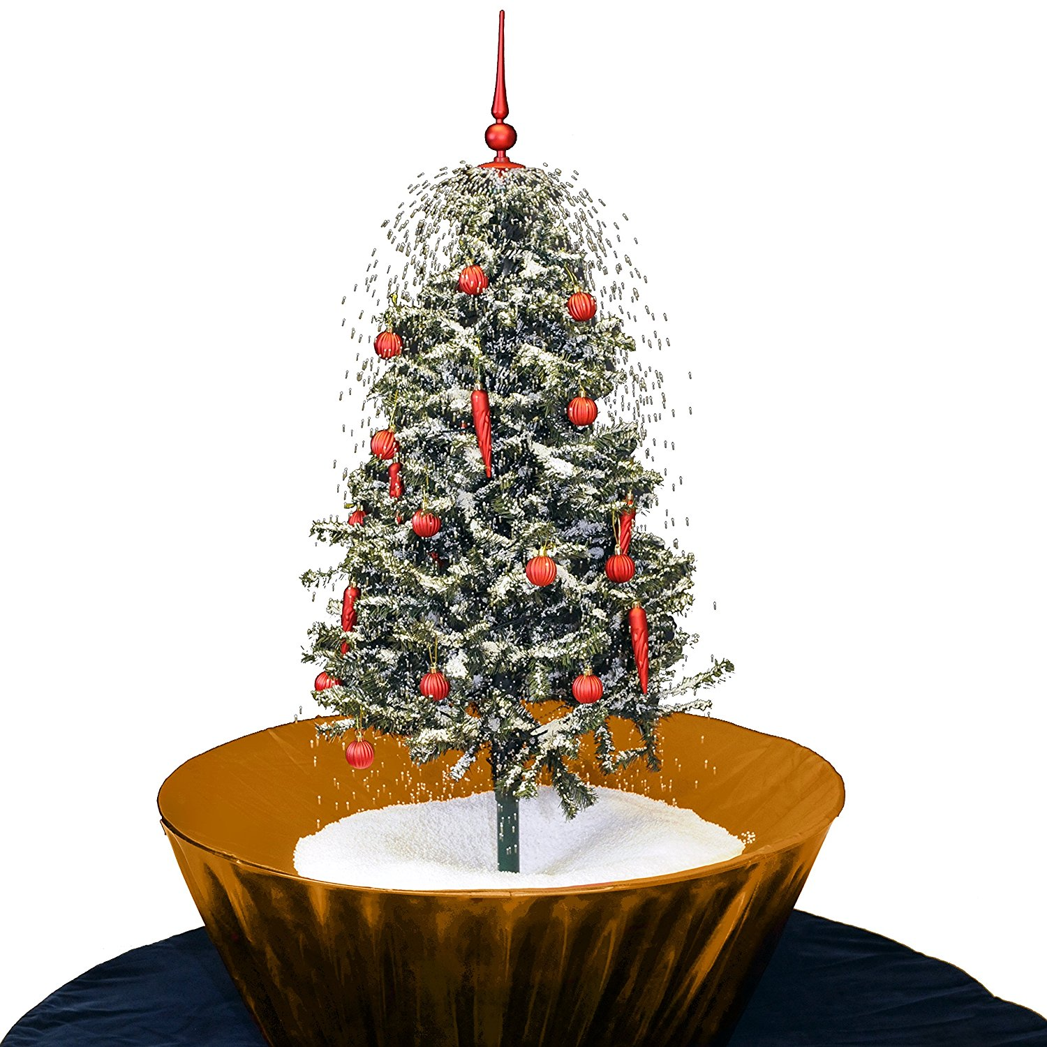 get quotations original snowing christmas tree 45 feet gold base
