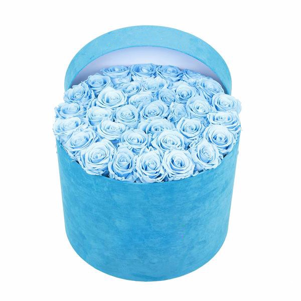 Cardboard velvet blue hat boxes flower for bouquet roses