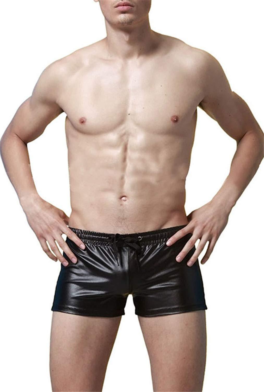 GuPoBoU168 Mens PU Patent Leather Front Holes Boxers Underwear