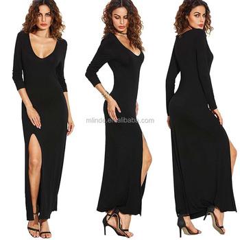 Y Honeymoon Dresses Image Women S Deep V Neck High Split Bodycon Muslim Long Sleeve