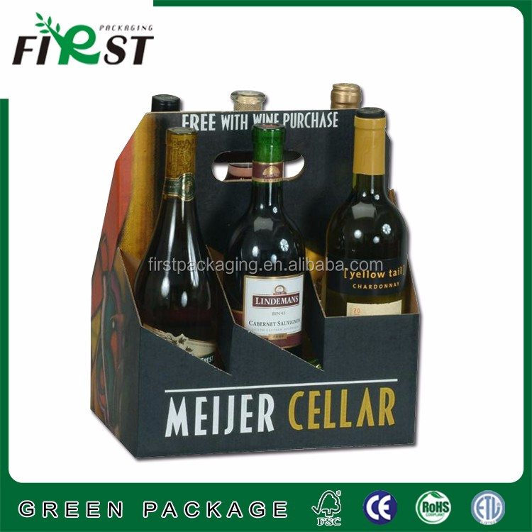 Corrugated and kraft paper cardboard box with 6 pack design for beer drink carrier packaging with strong handle