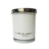 7.8*9.8cm 270ml opaque glossy white glass candle cup/holder/vessels with metal lid and silver logo
