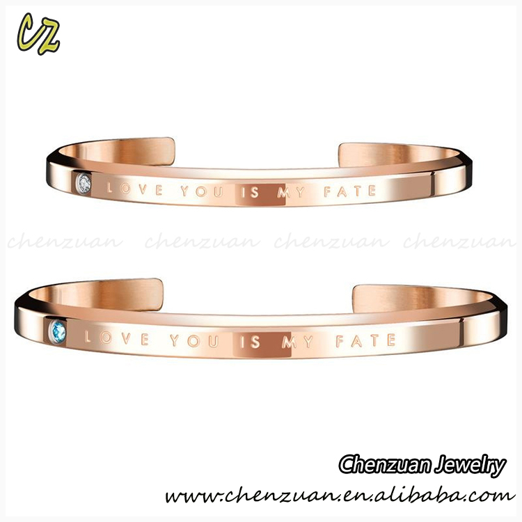 China factory custom design engraved 316L stainless steel bracelets cuff bangle