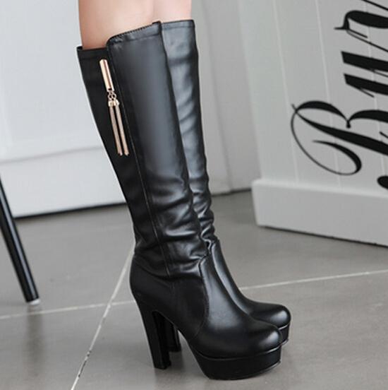 e03439206e5943 Talons hauts Femme plate,forme de demi,bottes Faux pu en cuir de mode ...