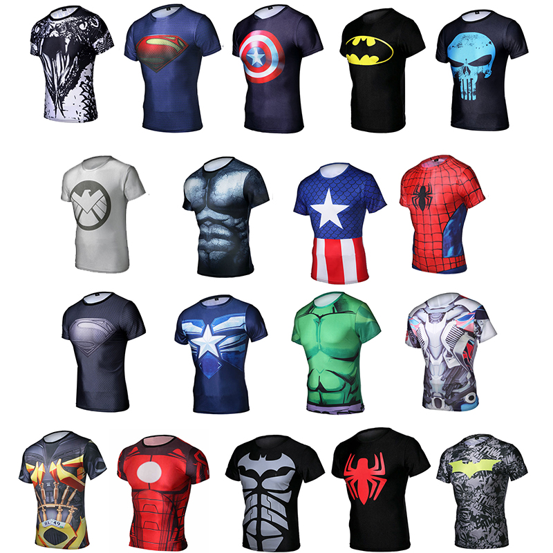 Custom Cycle Jersey Fashional Compression Quick Dry Marvel T Shirts with Sublimation Digital Printing