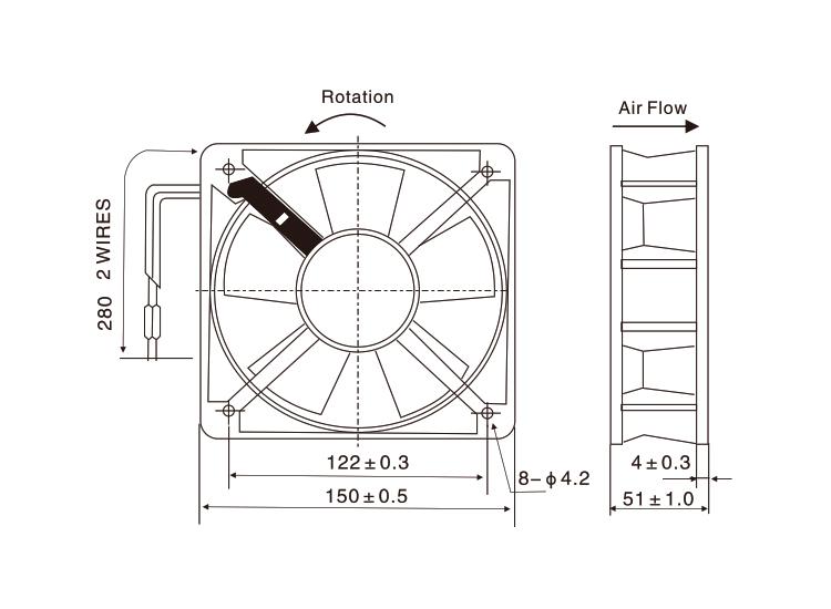 cooling 6 inch ventilator aluminum die casting industrial fan 380v sleeve bearing