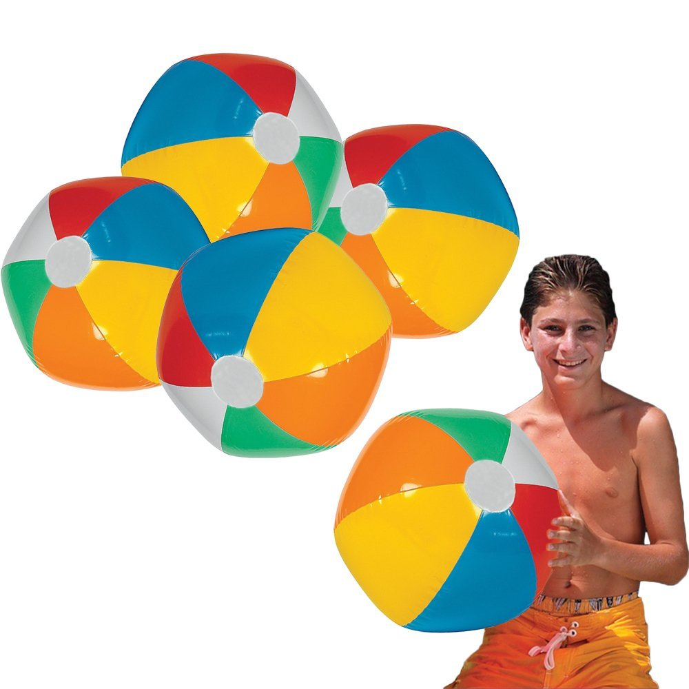 Toy Cubby Jumbo Inflatable 24 Inches Rainbow Beach Ball and Swimming Pool Party Ball - 6 pieces