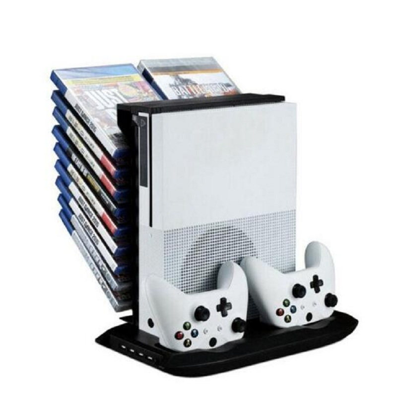 For One Slim Controller Charging Stand Holder Console Cooling Fan Vertical Stand Dual Game Disc Storage Holder 4 In 1